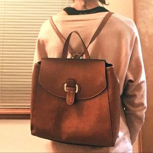 Modani cognac faux leather backpack